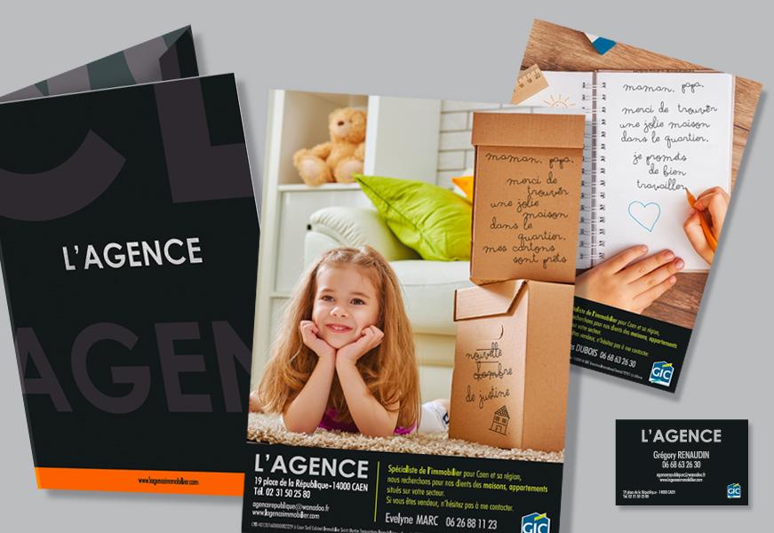 L'Agence - Pochette, flyers, cartes de visite