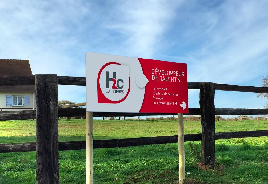 H2C carrières - Panneau en Dibond.