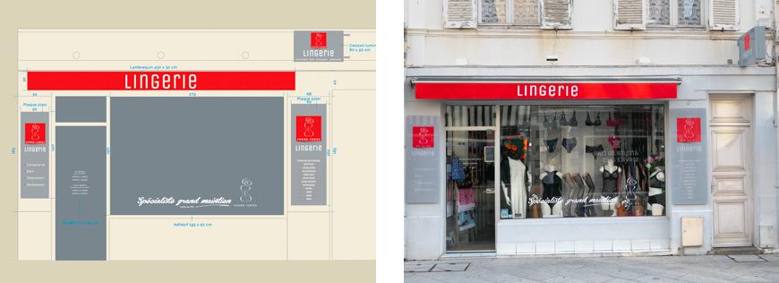 Lingerie de Deauville - enseigne drapeau, plaques en plexi, lambrequin
